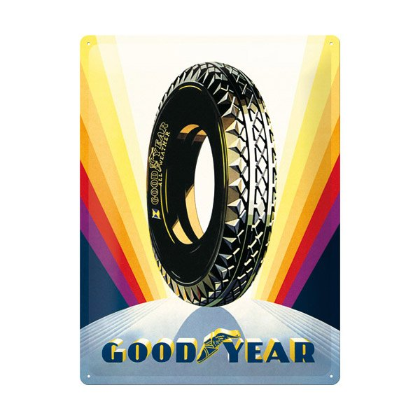 "Goodyear Tin Sign (30 x 40 cm) ""Rainbow Wheel"""