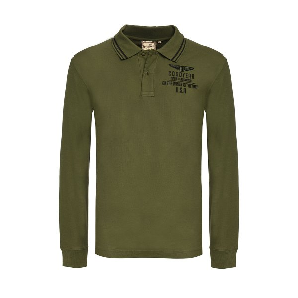 """Goodyear Men's long-sleeved Polo Shirt """"Wings of Victory"""""""