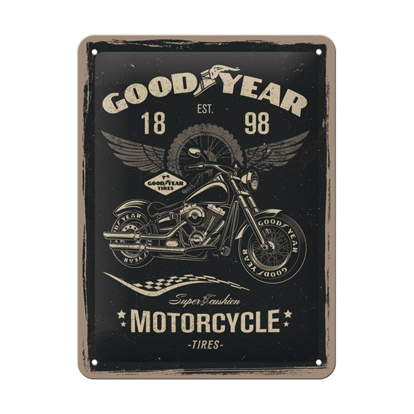 "Goodyear Tin Sign (15 x 20 cm) ""Motorcycle"""