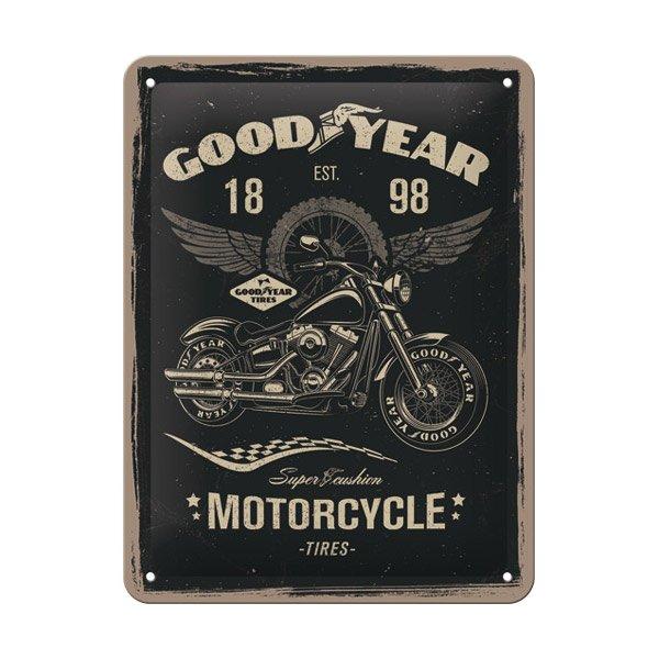 "Goodyear Tin Sign (15 x 20 cm) ""Motorcycle"""