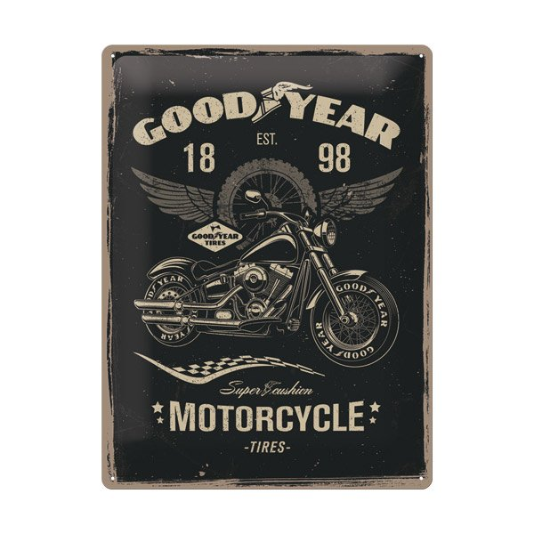 "Goodyear Tin Sign (30 x 40 cm) ""Motorcycle"""